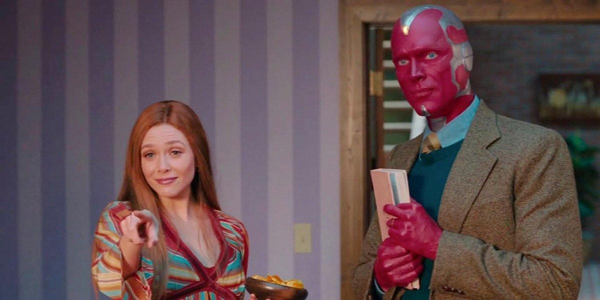 Elizabeth Olsen with Paul Bettany in WandaVision.