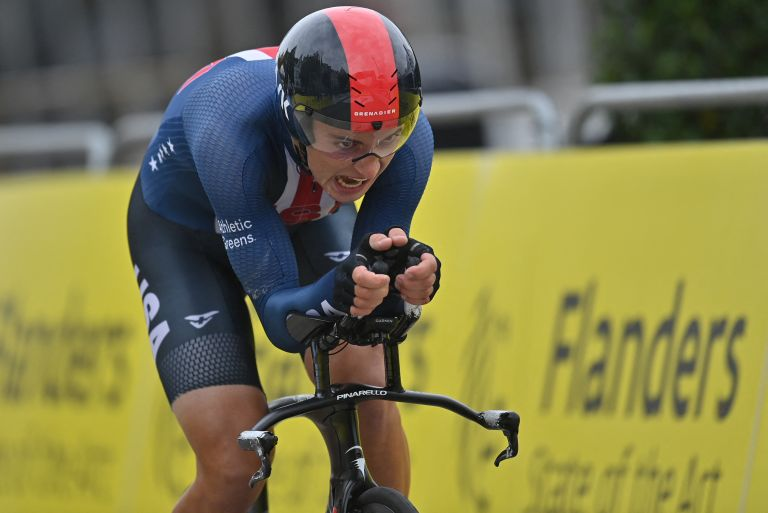 Magnus Sheffield riding the U23 time trial at the 2021 Road World Championships in Flanders, Belgium
