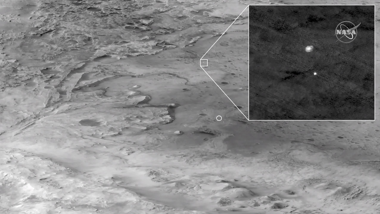 NASA's Mars Reconnaissance Orbiter captured this image of the Perseverance rover's landing on Feb. 18, 2021.