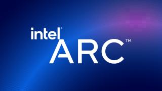 Intel Arc -logo sinisellä taustalla