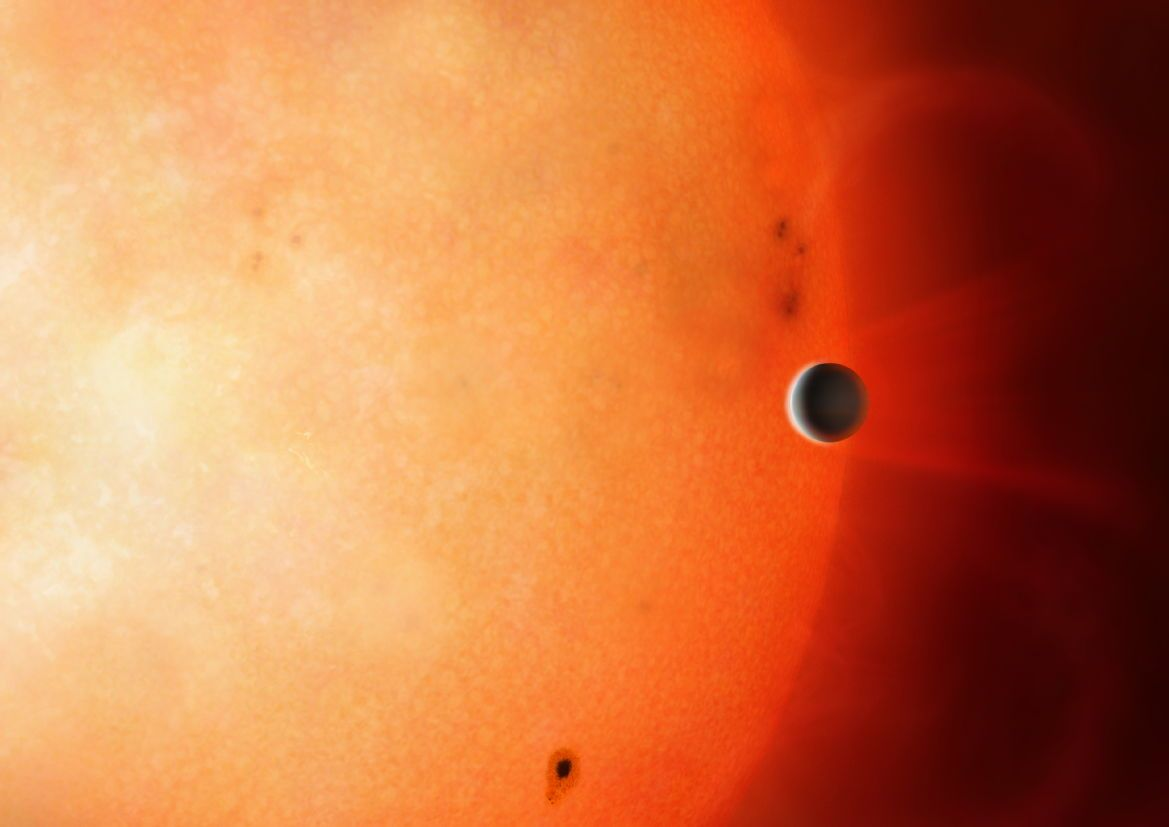 Exposed planetary core spotted circling distant star