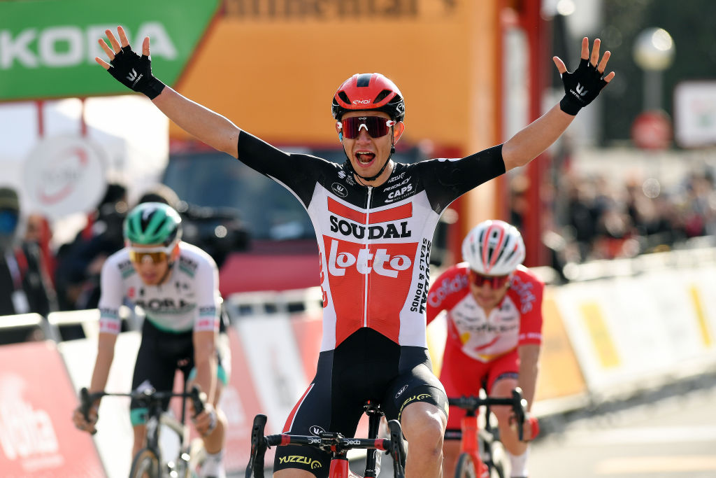 CALELLA SPAIN MARCH 22 Arrival Andreas Lorentz Kron of Denmark and Team Lotto Soudal Celebration Rmy Rochas of France and Team Cofidis Lennard Kmna of Germany and Team BORA Hansgrohe during the 100th Volta Ciclista a Catalunya 2021 Stage 1 a 1784km stage from Calella to Calella VoltaCatalunya100 on March 22 2021 in Calella Spain Photo by David RamosGetty Images