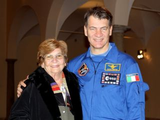 European Space Agency astronaut Paolo Nespoli with his mother in November 2010, shortly before he launched to the International Space Station.