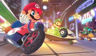 Mario and Luigi race in Mario Kart 8