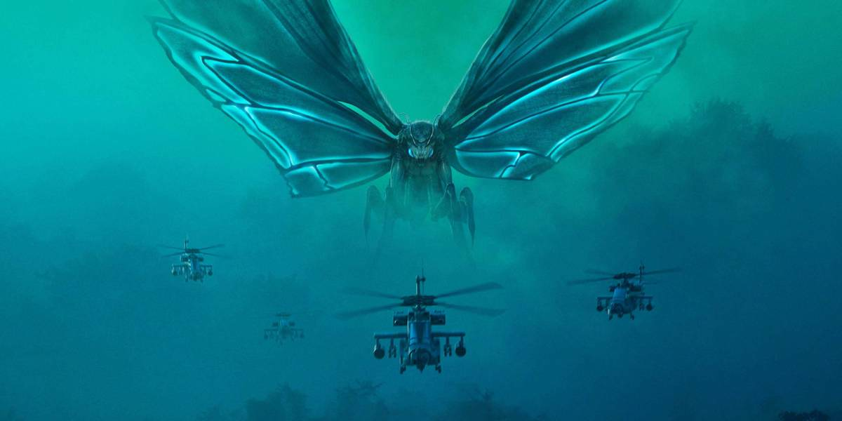 Morthra flying with helicopters in Godzilla: King of the Monsters poster