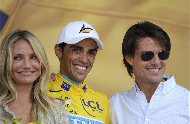 Cameron Diaz, Alberto Contador and Tom Cruise, Tour de France 2010, stage 18