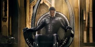 Black Panther Chadwick Boseman T'Challa reigning on his throne