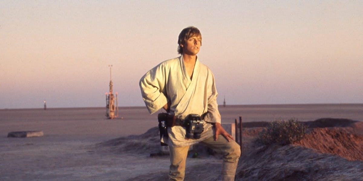 Mark Hamill as Luke Skywalker on Tattooine in Star Wars A New Hope