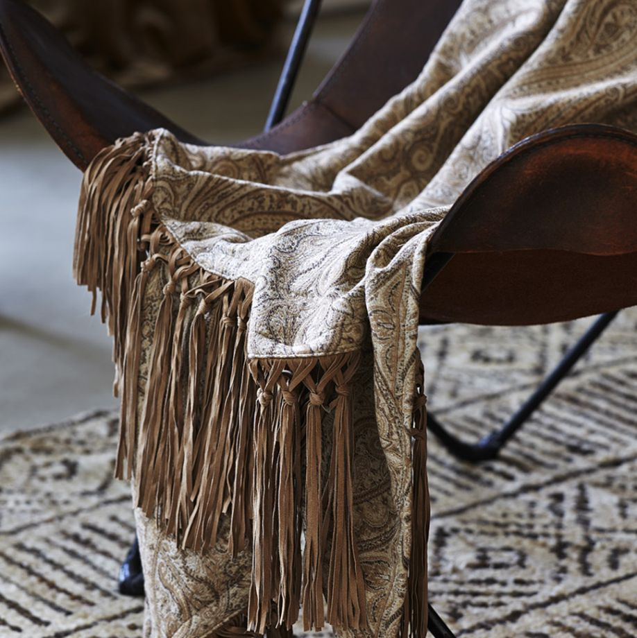 Watercolour Twig throw with suede knotted tassle