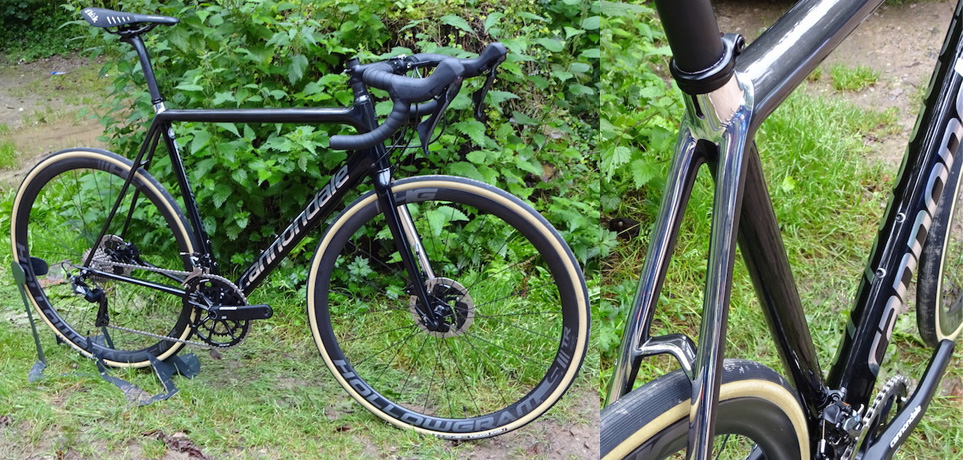c7eefd1cb3d This SuperSix Disc has a mirrored-on-black finish as well as a Dura-Ace  hydraulic groupset