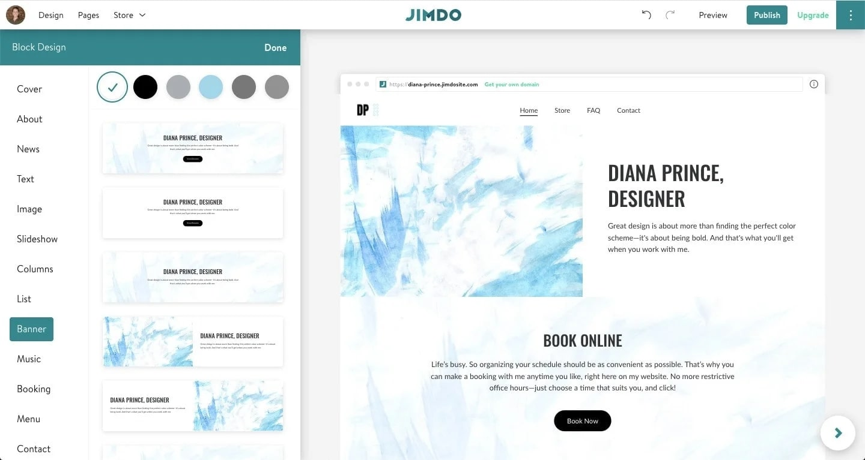 Jimdo's website editor in use
