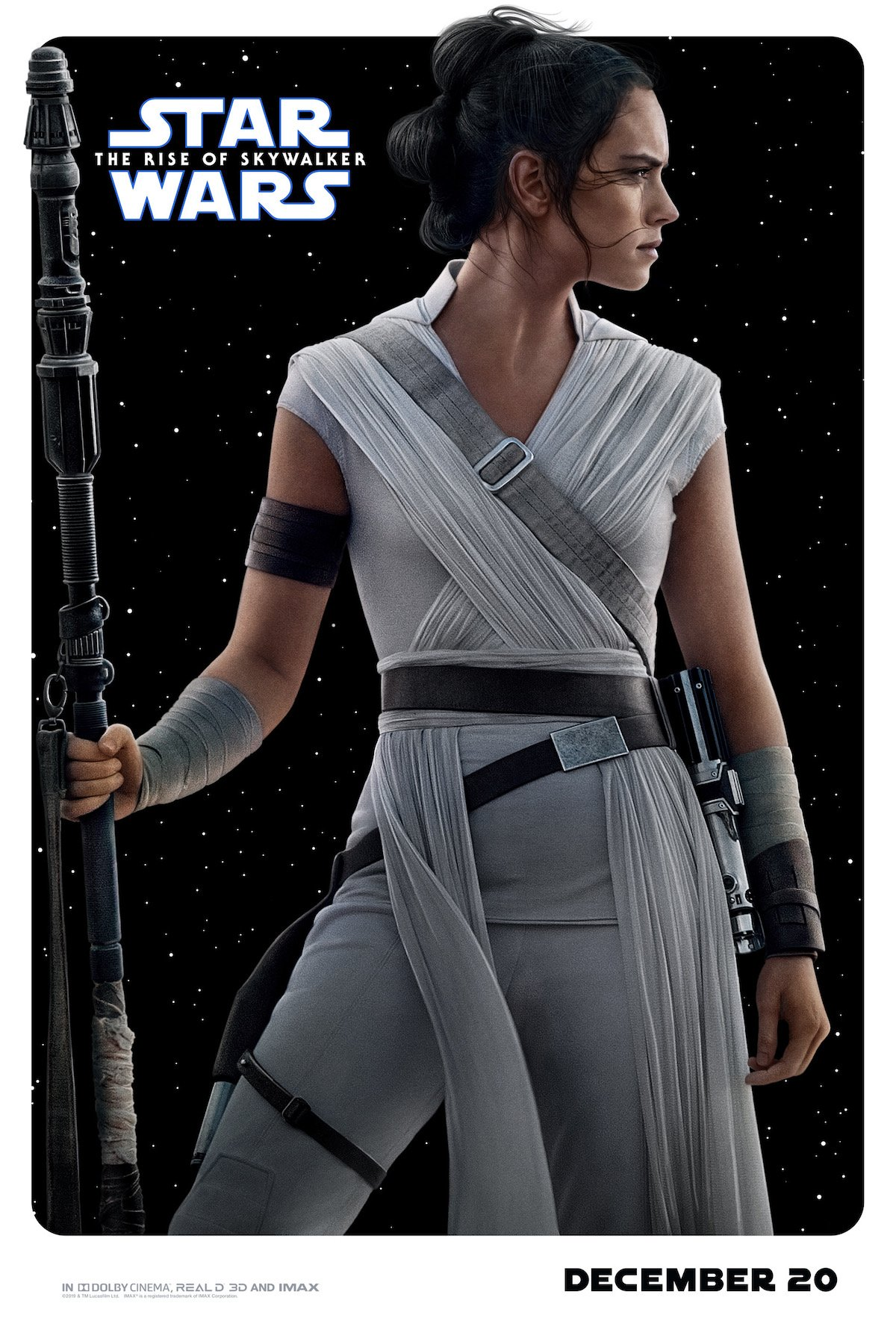 Daisy Ridley as Rey in Rise of Skywalker character poster
