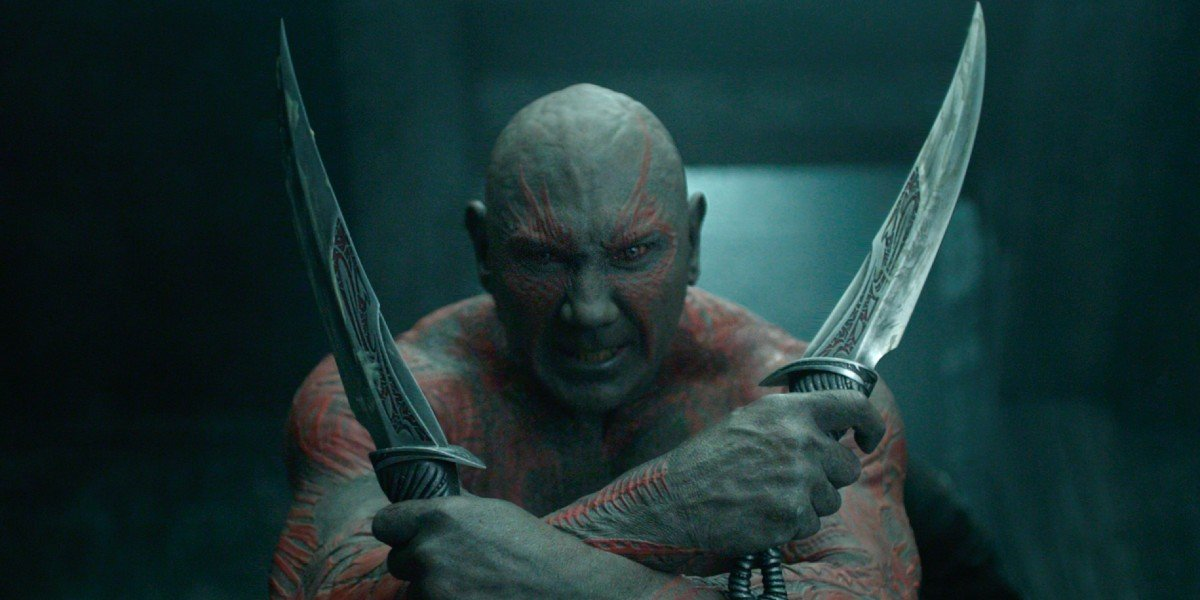Drax (Dave Bautista) prepares for battle in Guardians of the Galaxy (2014)