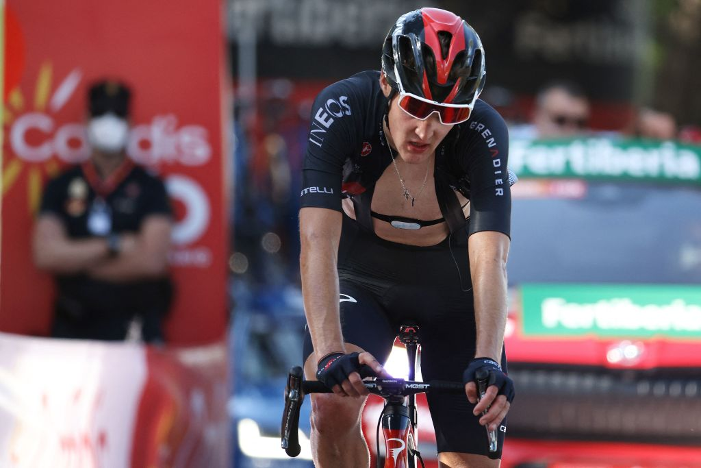 Team Ineos Russian rider Pavel Sivakov crosses the finish in third place becoming first in the Best Climber ranking during the 7th stage of the 2021 La Vuelta cycling tour of Spain a 152 km race from Gandia to Balcon de Alicante in Tibi on August 20 2021 Photo by JOSE JORDAN AFP Photo by JOSE JORDANAFP via Getty Images