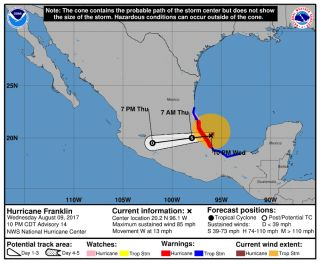 Hurricane Franklin is expected to make landfall on the coast of Mexico.