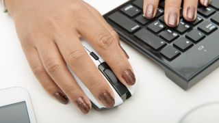 Woman using mouse