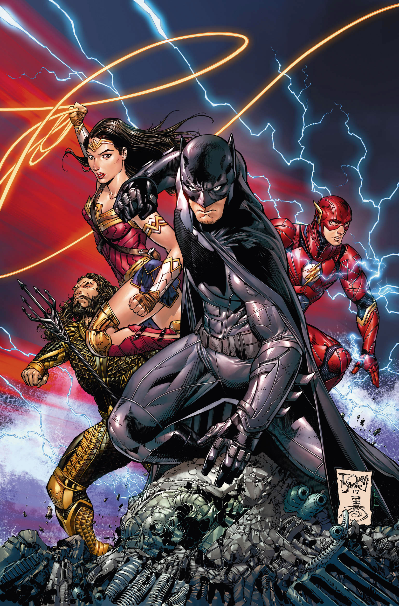 Aquaman, Wonder Woman, Batman and the Flash striking a heroic pose