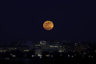 "Photographer Sandy Adams snapped this great view of the ""supermoon"" full moon of March 19, 2011 over Washington, D.C."