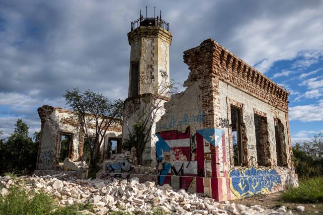 The collapsed wall of the ruins of an iconic landmark lighthouse can be seen in Guanica, Puerto Rico, on Jan. 6, 2020, after it was destroyed by an earthquake.