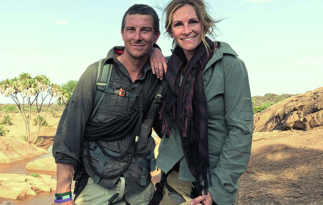Bear Grylls takes three more celebrities out of their comfort zones, beginning with Hollywood star Julia Roberts.