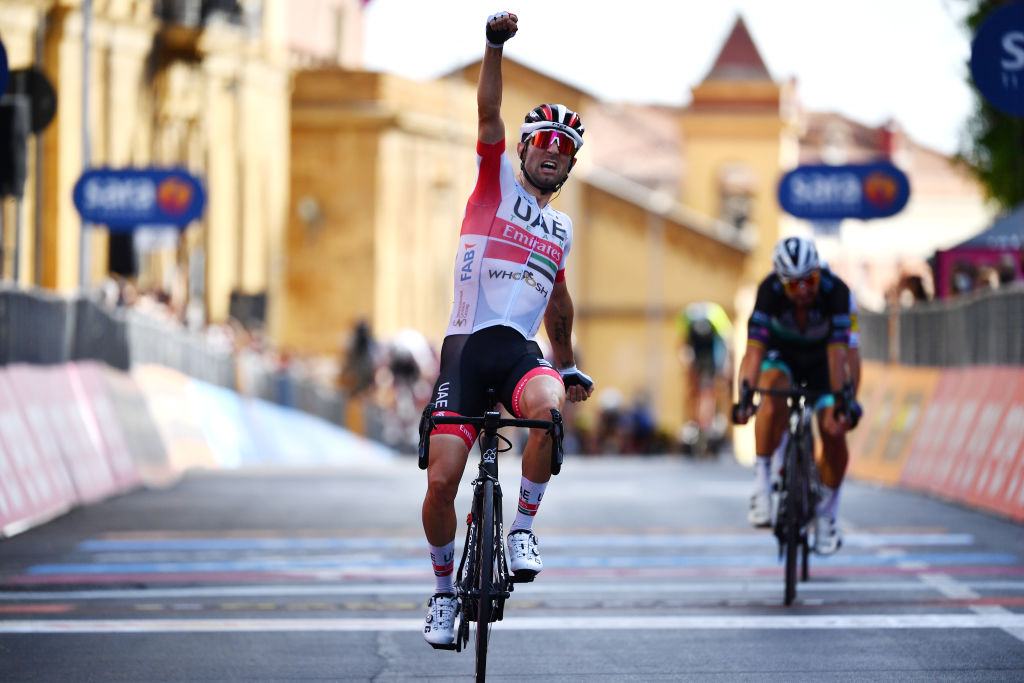 AGRIGENTO ITALY OCTOBER 04 Arrival Diego Ulissi of Italy and UAE Team Emirates Celebration during the 103rd Giro dItalia 2020 Stage 2 a 149km stage from Alcamo to Agrigento 243m girodiitalia Giro on October 04 2020 in Agrigento Italy Photo by Stuart FranklinGetty Images