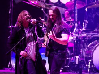 James LaBrie and John Petrucci with Mike Mangini in back give as good as they get