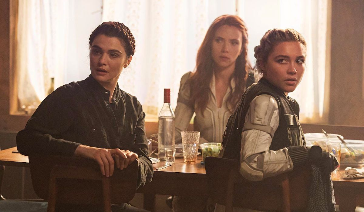 Scarlett Johansson, Rachel Weisz and Florence Pugh in Black Widow