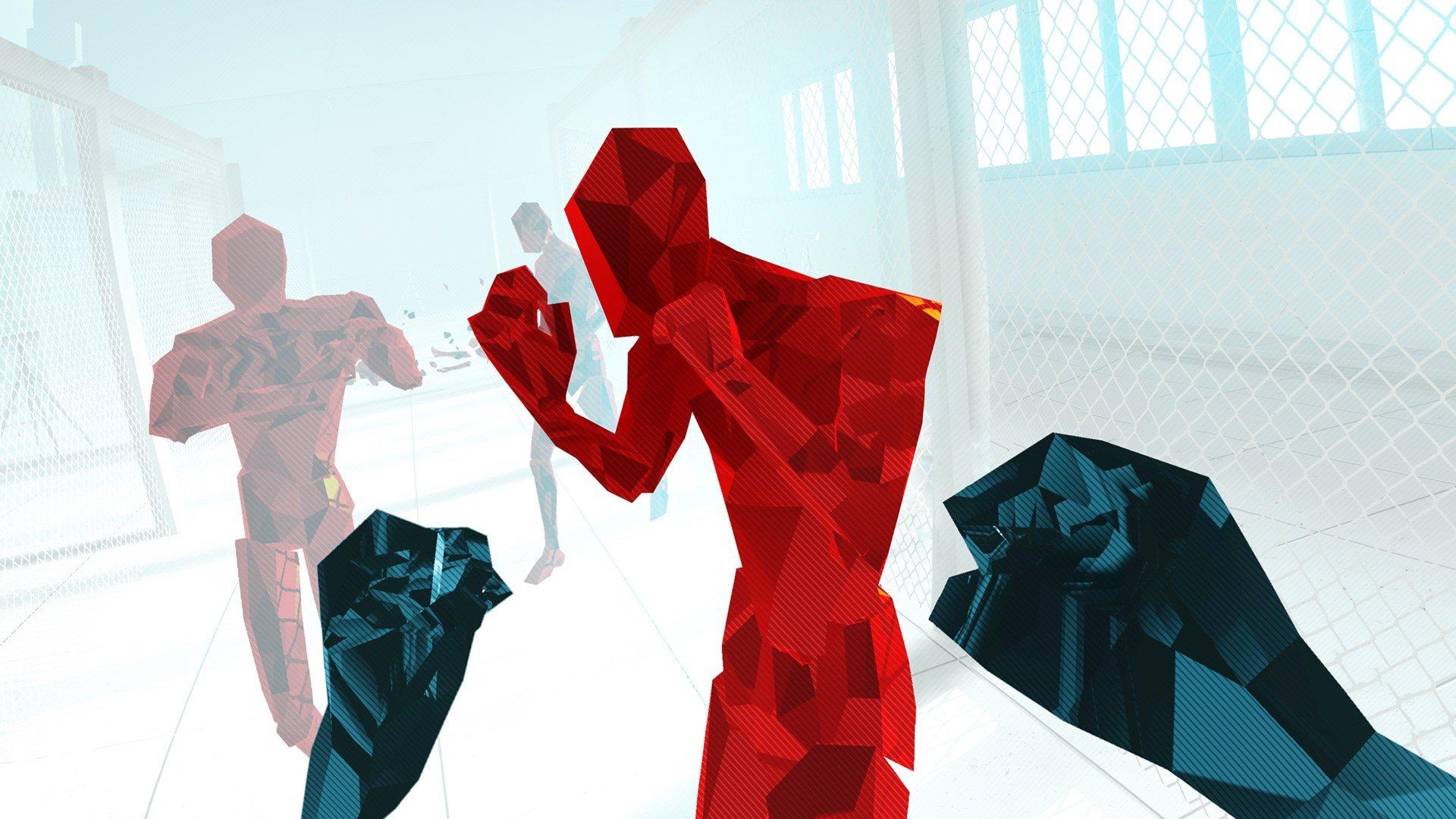 Red, polygonal enemies meet your fists in Superhot VR