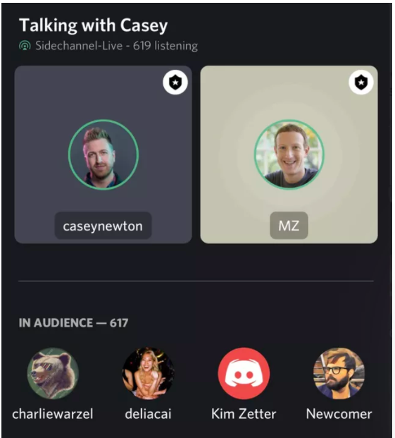 A screenshot from CNET on Mark Zuckerberg's chat on the app Discor