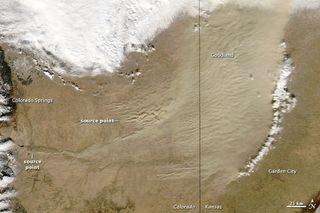 Colorado and Kansas dust storm