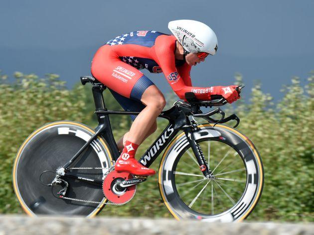 Evelyn Stevens in the Women's TT at the 2014 World Road Championships