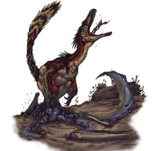 Artist's impression of a Velociraptor scavenging the carcass of a Pterosaur.