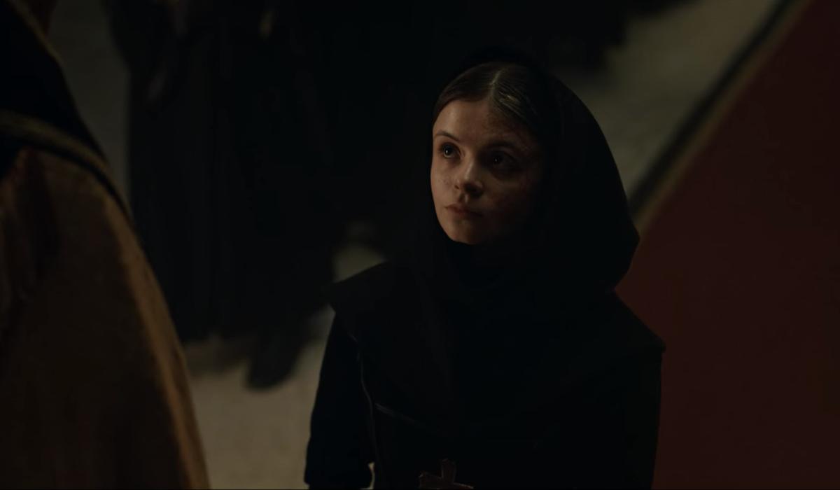 Emily Coates as Sister Iris in Cursed season finale