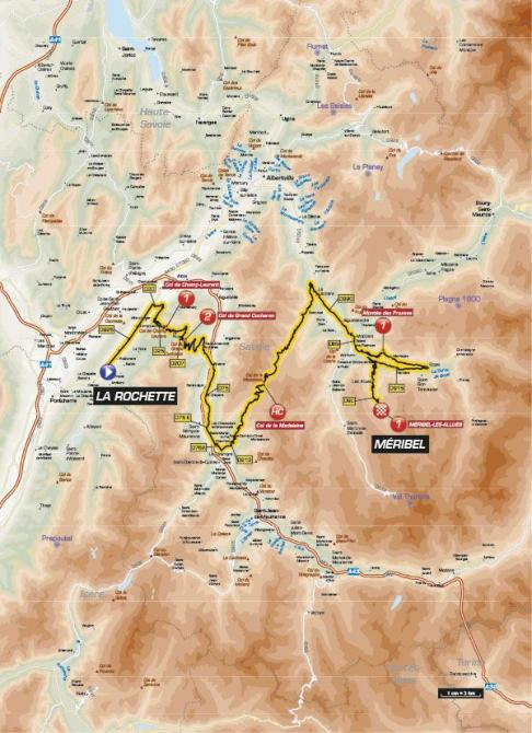 The map of stage six of the Criterium du Dauphine
