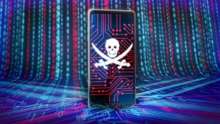 A skull and bones displayed on a smartphone screen against a background of circuits and bits.
