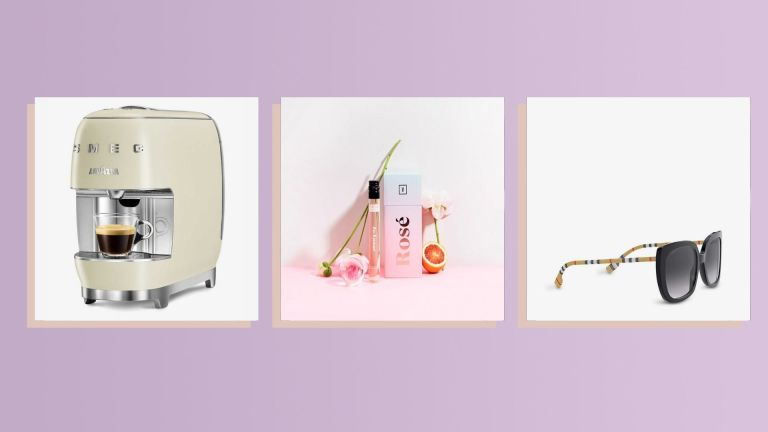Three of the best Christmas gifts for your mom 2021 from Burberry, Vinebox, and Smeg shown side by side