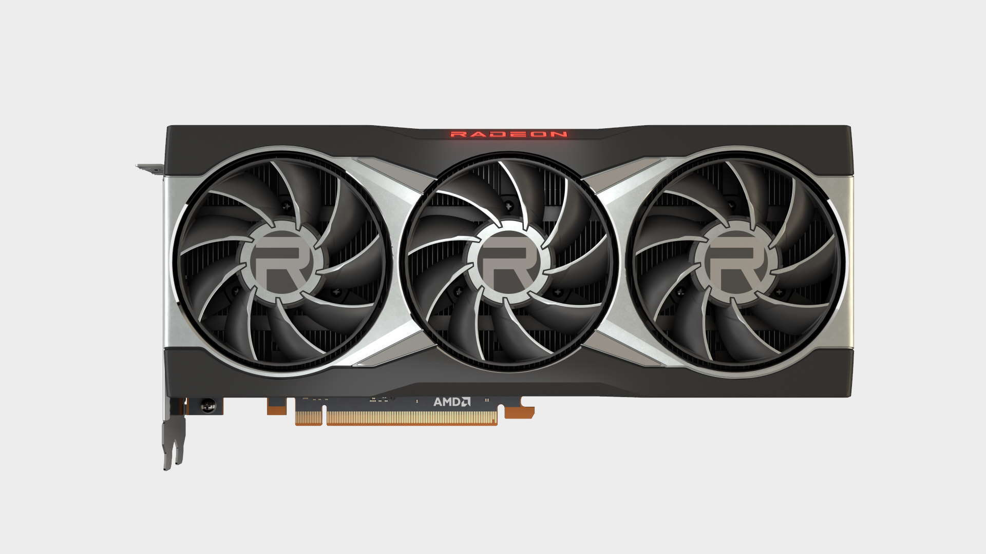 AMD Radeon RX 6900 XT reference graphics card shot from above on a blank background