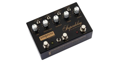 You can plug in an expression pedal to control delay mix or feedback