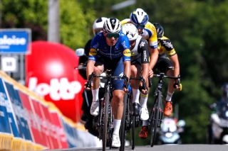 MAARKEDAL BELGIUM JUNE 09 Remco Evenepoel of Belgium and Team Deceuninck QuickStep 2nd place at arrival during the 90th Baloise Belgium Tour 2021 Stage 1 a 1753km stage from Beveren to Maarkedal baloisebelgiumtour on June 09 2021 in Maarkedal Belgium Photo by Bas CzerwinskiGetty Images