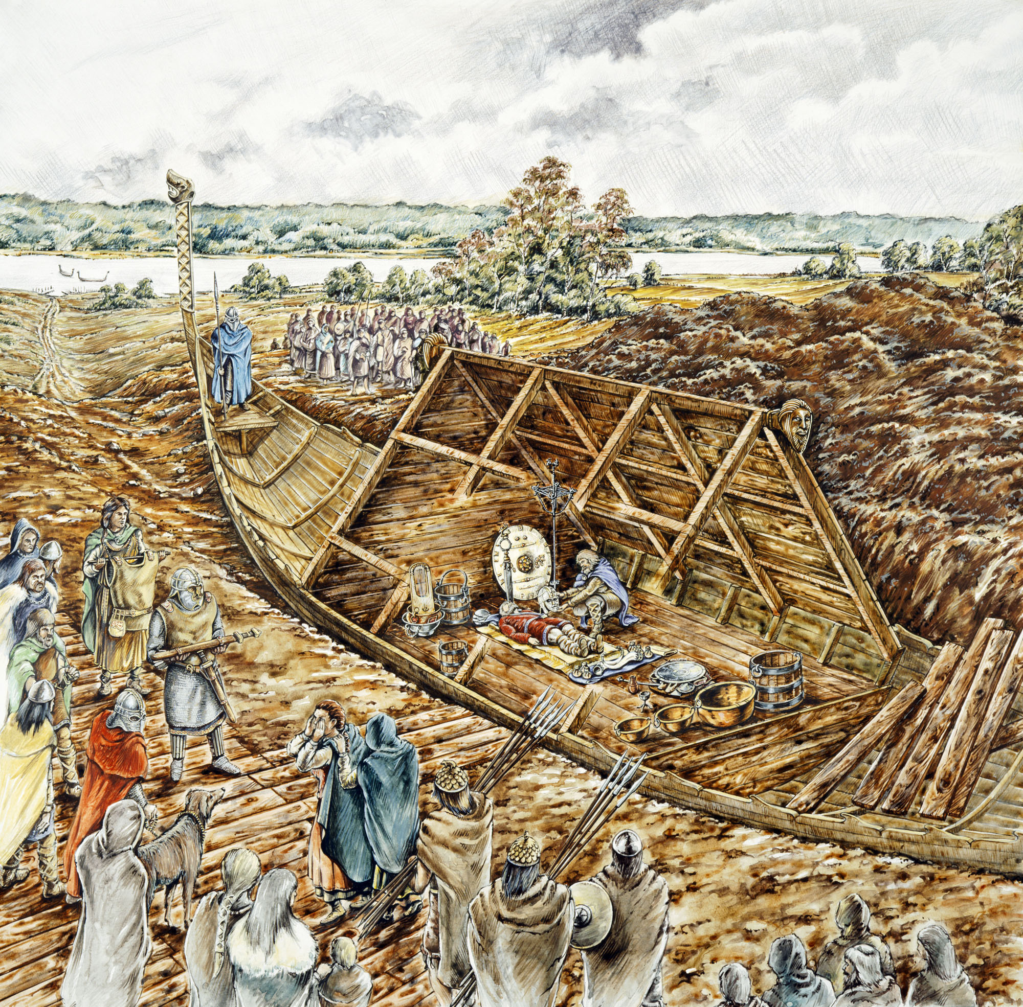 In this reconstruction drawing, the Sutton Hoo ship burial holds a wealth of Anglo-Saxon artifacts and the body of what is likely a king from East Anglia.