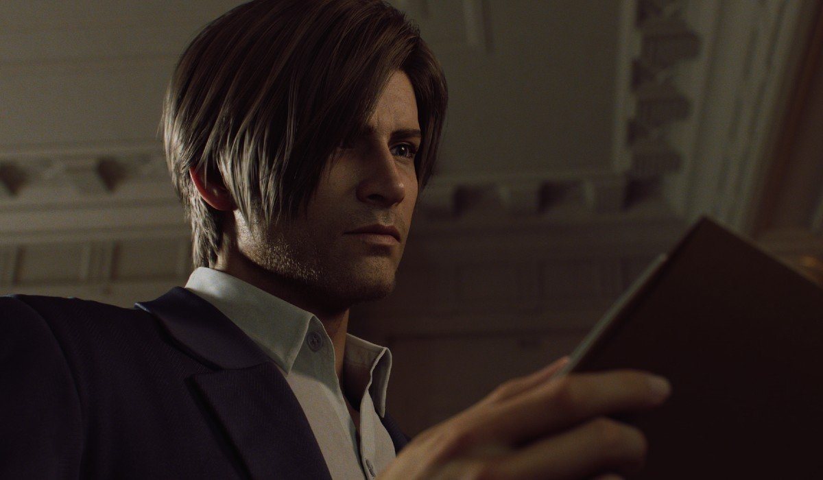 Leon Kennedy looking at a book Netflix