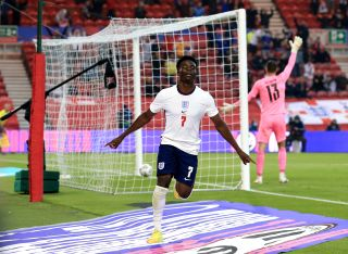 Bukayo Saka scored his first England goal in Wednesday's friendly win over Austria