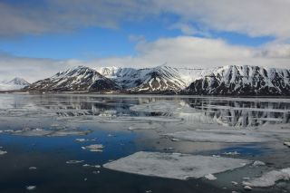 Mountains on the island of Spitsbergen, in the Arctic Ocean.