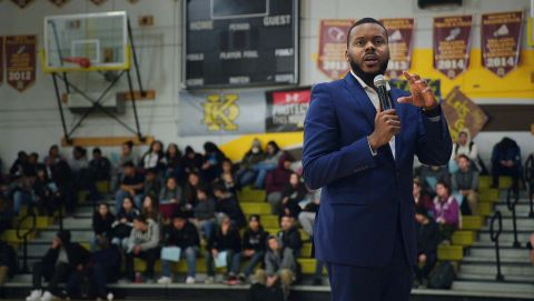 Michael Tubbs speaks to a class of high school kids about his 'Stockton Scholars' program.