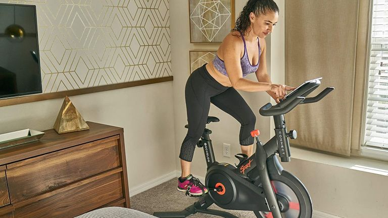 Echelon Connect Sport bike – woman using the bike at home