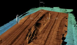 Sonar scans revealed a detailed view of the USS San Diego, including the hull where the explosion occurred at 11:23 a.m. on July 19, 1918.