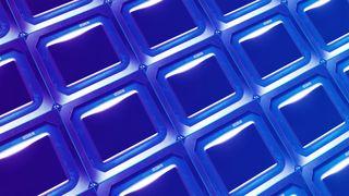 Intel fake GPU repeated on blue gradient