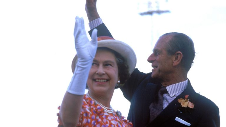 Queen Elizabeth II, Bahamas, Prince Philip, Duke of Edinburgh, 11th October 1985.