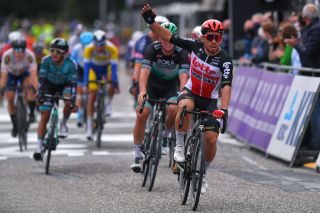 Caleb Ewan (Lotto-Soudal) wins a shortened version of Scheldeprijs in 2020 after a crash marred finale