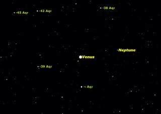 Venus and Neptune Sky Map January 2012